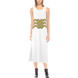 gold belt Phaedra Sleeveless Open Fork Long Dress (Model D08)