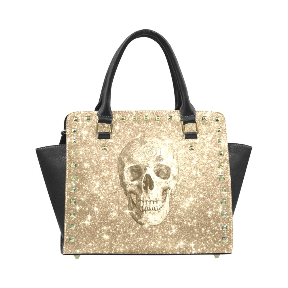 Modern sparkling Skull  by JamColors Rivet Shoulder Handbag (Model 1645)