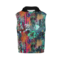 Graffiti Wall and Paint Splatter (Vest Style) All Over Print Sleeveless Hoodie for Women (Model H15)