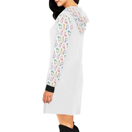 Penguin Love All Over Print Hoodie Mini Dress (Model H27)