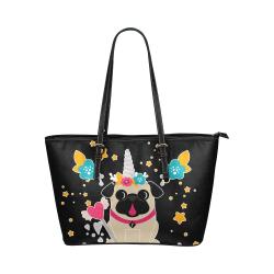 Pug Unicorns Fawn and Black Leather Tote Bag/Small (Model 1651)