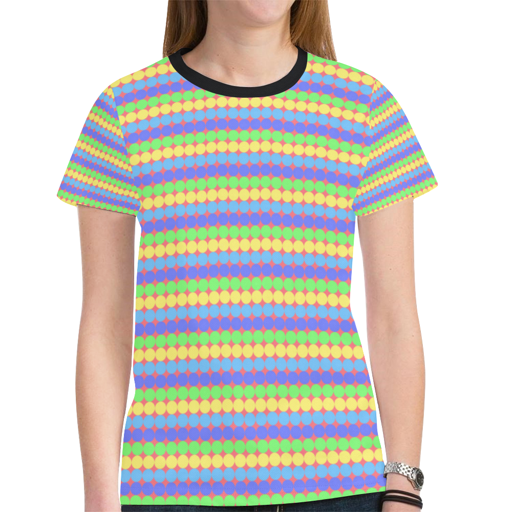 polka dots New All Over Print T-shirt for Women (Model T45)