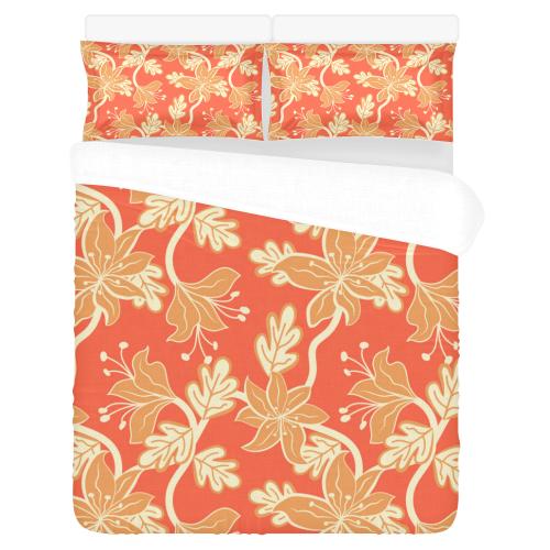 White wildflowers 3-Piece Bedding Set