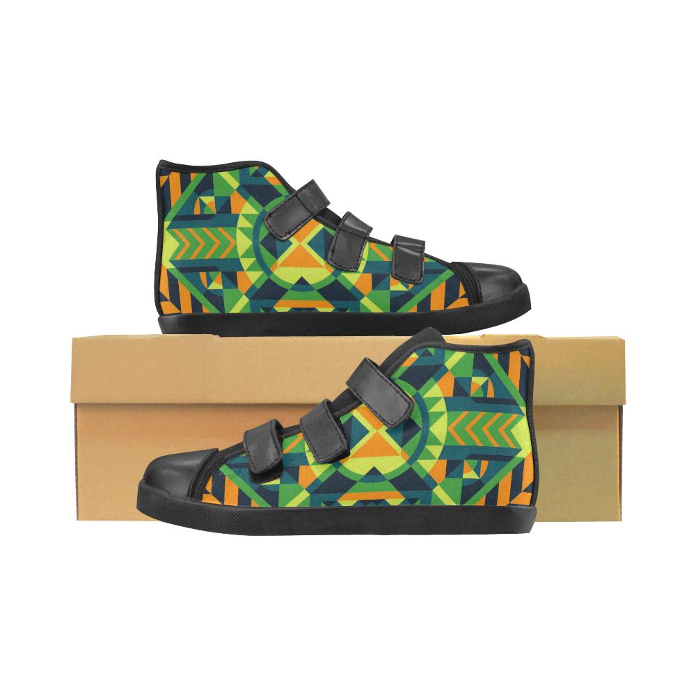 Modern Geometric Pattern Velcro High Top Canvas Kid's Shoes (Model 015)
