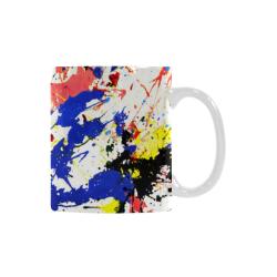 Blue and Red Paint Splatter Custom White Mug (11OZ)