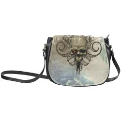 Creepy skull, vintage background Classic Saddle Bag/Large (Model 1648)