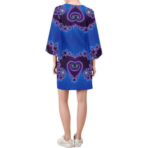 Blue Hearts and Lace Fractal Abstract 2 Bell Sleeve Dress (Model D52)