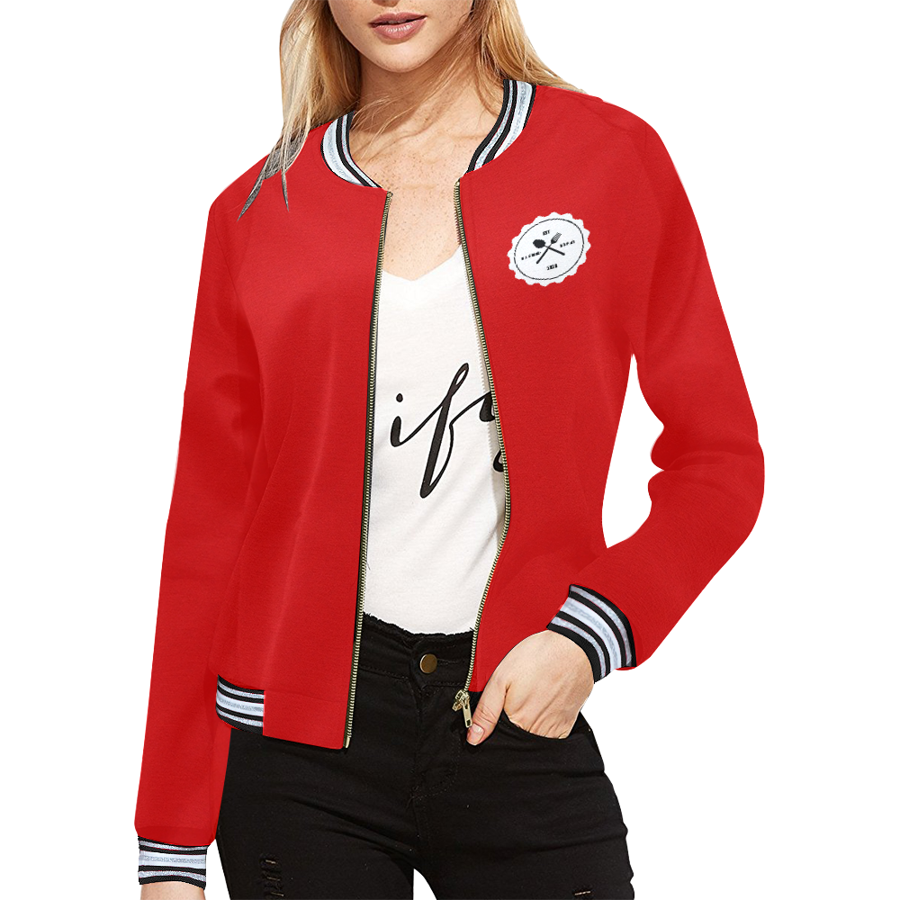 RED All Over Print Bomber Jacket for Women (Model H21)