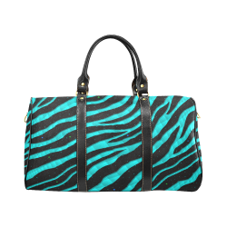 Ripped SpaceTime Stripes - Cyan New Waterproof Travel Bag/Large (Model 1639)