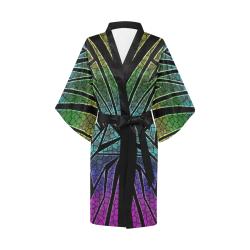 Neon Rainbow Cracked Mosaic Kimono Robe
