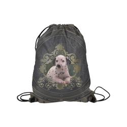 "Cute dalmatian Medium Drawstring Bag Model 1604 (Twin Sides) 13.8""(W) * 18.1""(H)"