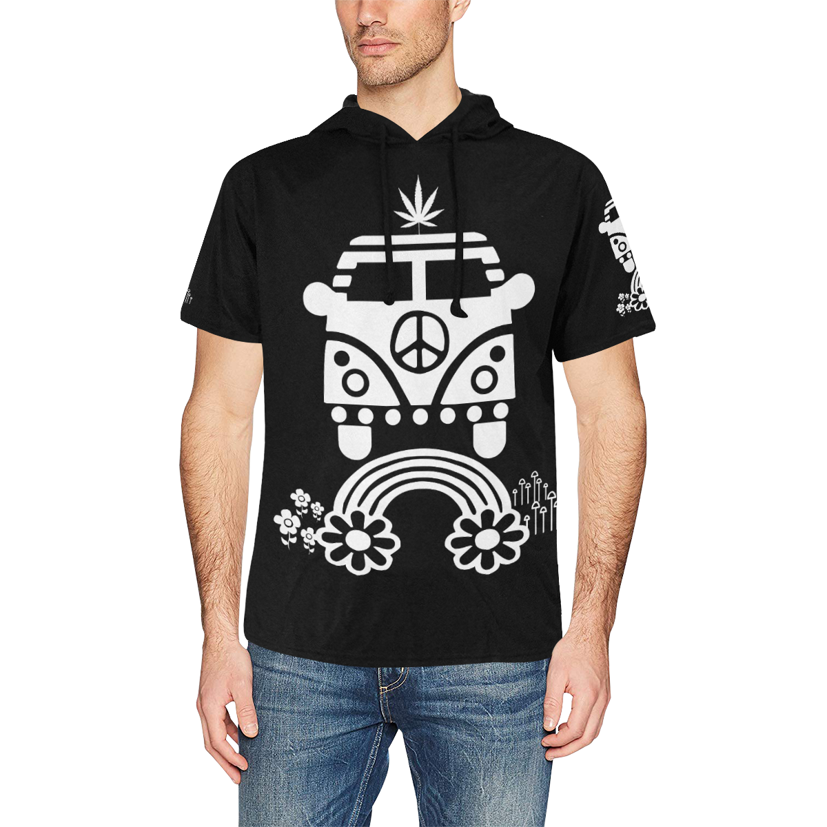 HIPPIE CANNABIS 70s 60s BLACK All Over Print Short Sleeve Hoodie for Men (Model H32)