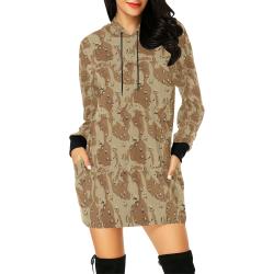 Vintage Desert Brown Camouflage All Over Print Hoodie Mini Dress (Model H27)