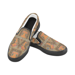 Luxury Abstract Design Women's Unusual Slip-on Canvas Shoes (Model 019)