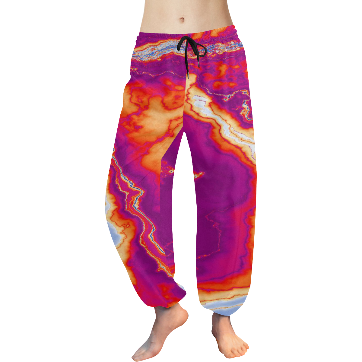 Neon Geode Women's All Over Print Harem Pants (Model L18)