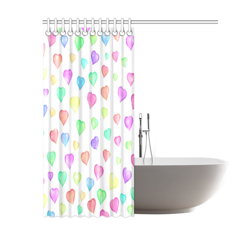 """Pastel Hearts Shower Curtain 60""""x72"""""""