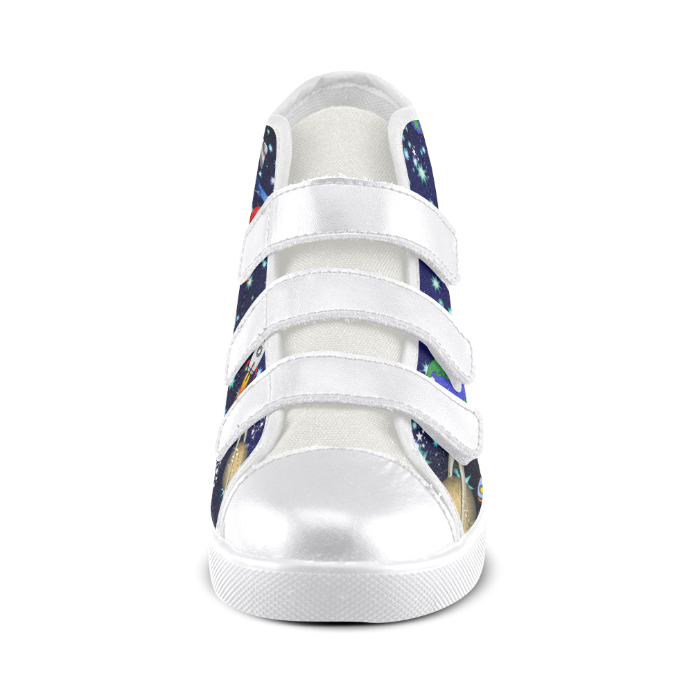 Galaxy Universe - Planets,Stars,Comets,Rockets Velcro High Top Canvas Kid's Shoes (Model 015)