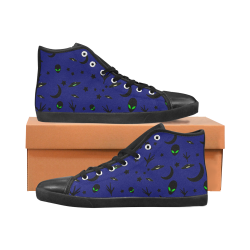 Alien Flying Saucers Stars Pattern On Blue Women's High Top Canvas Shoes (Model 002)