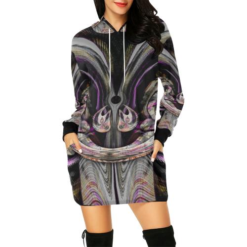 sml 5000DUBLE 55 face'em 6 All Over Print Hoodie Mini Dress (Model H27)
