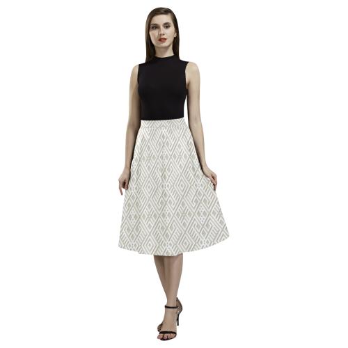 White 3D Geometric Pattern Aoede Crepe Skirt (Model D16)