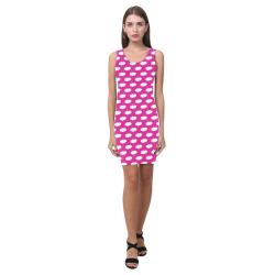Clouds with Polka Dots on Hot Pink Medea Vest Dress (Model D06)