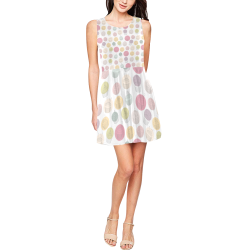 Colorful Cupcakes Thea Sleeveless Skater Dress(Model D19)