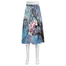 Cherry blossomL Mnemosyne Women's Crepe Skirt (Model D16)