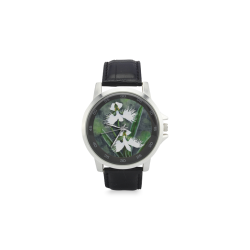 White egret orchids flowers Unisex Stainless Steel Leather Strap Watch(Model 202)