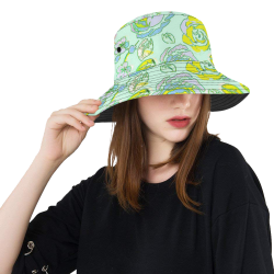 Green Yellow Rosie All Over Print Bucket Hat