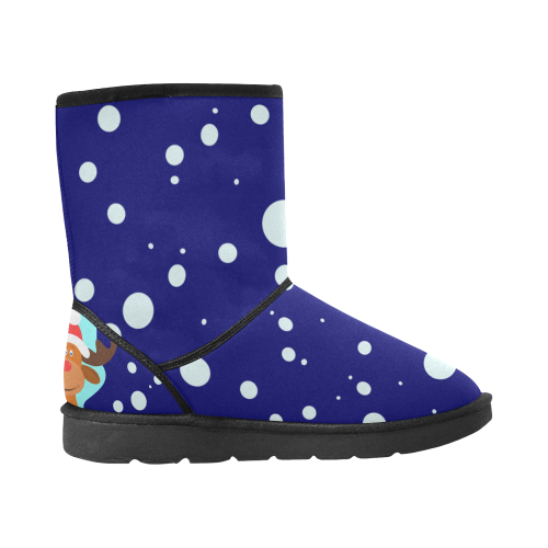 Funny Christmas Reindeer Blue Custom High Top Unisex Snow Boots (Model 047)