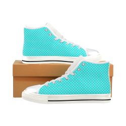 Baby blue polka dots High Top Canvas Women's Shoes/Large Size (Model 017)