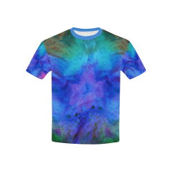 Grunge Multi Colored Kids Tee Kids' All Over Print T-Shirt with Solid Color Neck (Model T40)