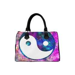 Awesome Japanese Glitter Galaxy Girl Yin Yang Leather Boston Handbag (Model 1621)