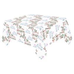 """Christmas 'Tis The Season Pattern on White Cotton Linen Tablecloth 52""""x 70"""""""