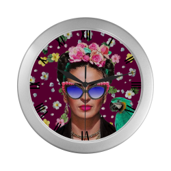 Frida Kahlo...Hey Where's My Earing (Wine) Silver Color Wall Clock