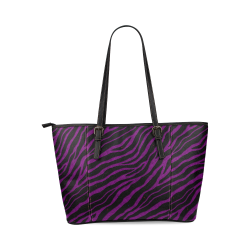 Ripped SpaceTime Stripes - Purple Leather Tote Bag/Large (Model 1640)
