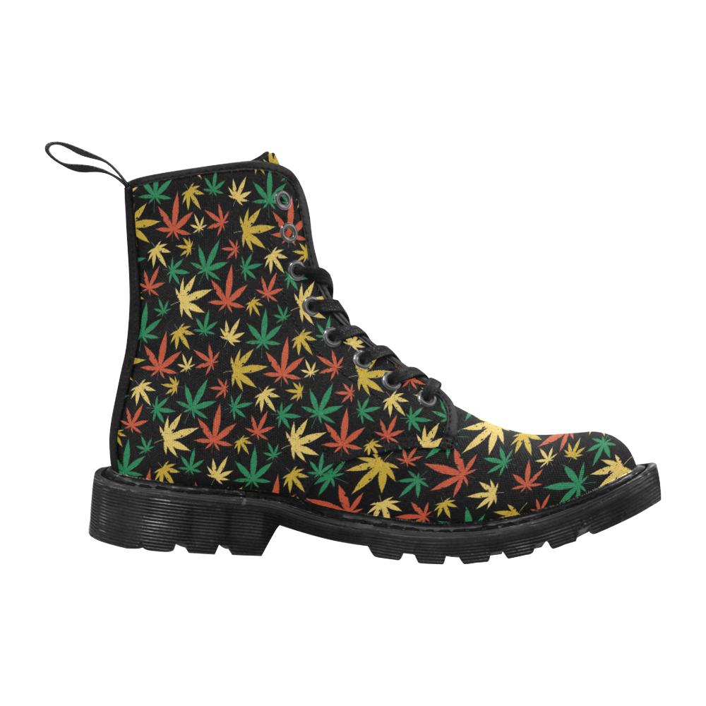 Cannabis Pattern Martin Boots for Women (Black) (Model 1203H)