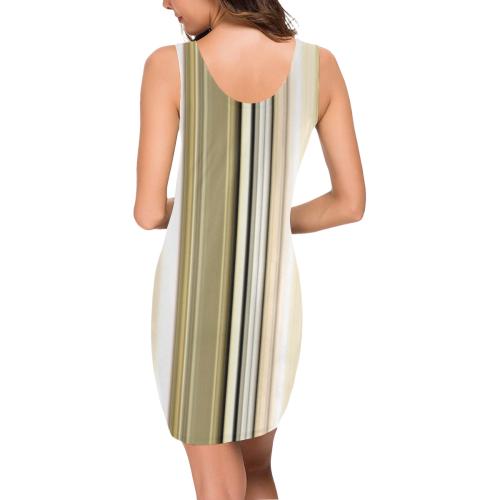 Silver and gold stripes vertical Medea Vest Dress (Model D06)