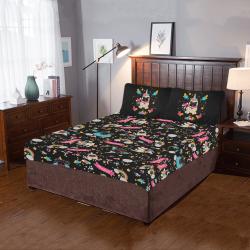 Pug Unicorns on Black 3-Piece Bedding Set