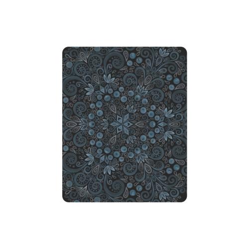 Blueberry Field, Blue, Watercolor Mandala Rectangle Mousepad