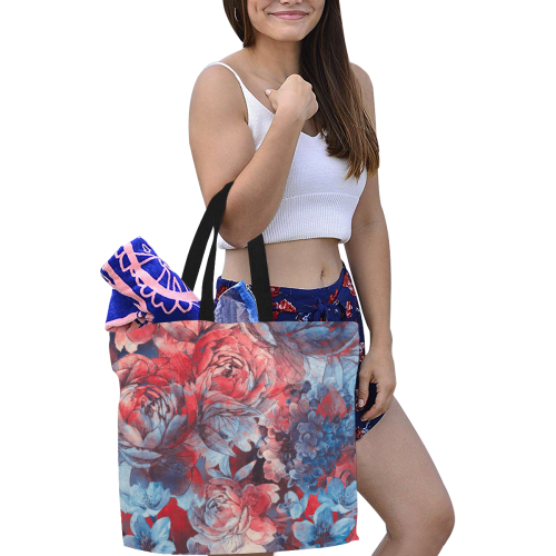 flowers flora #flowers All Over Print Canvas Tote Bag/Large (Model 1699)