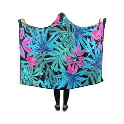 Tropical Aqua And Pink Leaves Hooded Blanket 50''x40''