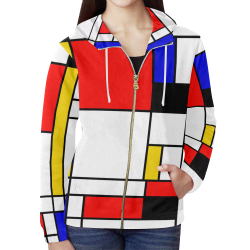 Bauhouse Composition Mondrian Style All Over Print Full Zip Hoodie for Women (Model H14)