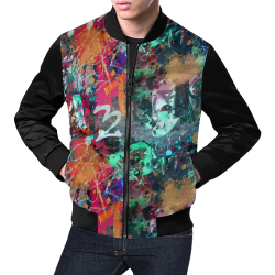 Graffiti Wall and Paint Splatter (Vest Style) All Over Print Bomber Jacket for Men (Model H19)