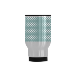 Silver blue polka dots Travel Mug (Silver) (14 Oz)