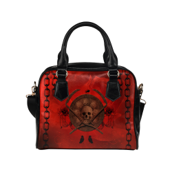Skulls on red vintage background Shoulder Handbag (Model 1634)