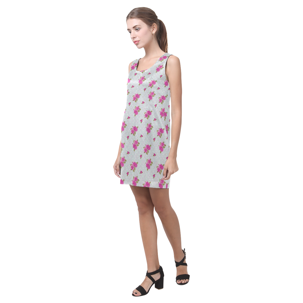 Roses and Pattern 1B by JamColors Helen Sleeveless Dress (Model D10)
