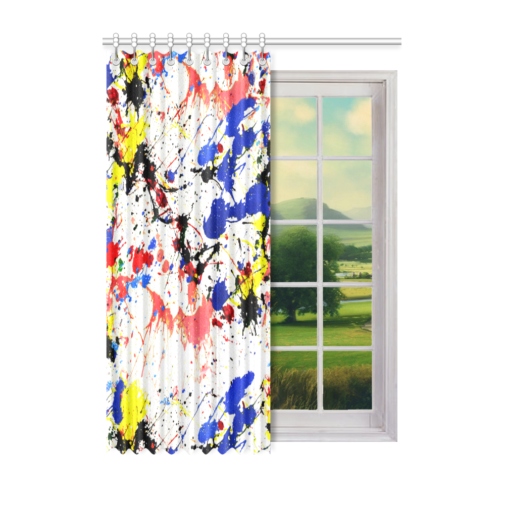 """Blue and Red Paint Splatter Window Curtain 52"""" x 72""""(One Piece)"""