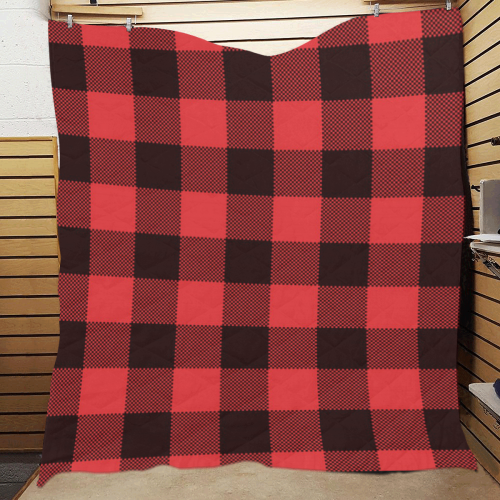 """Black and Red Buffalo print Quilt 60""""x70"""""""