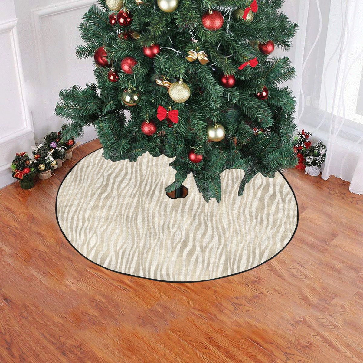 "Linen Vertical Tiger Animal Print Christmas Tree Skirt 47"" x 47"""